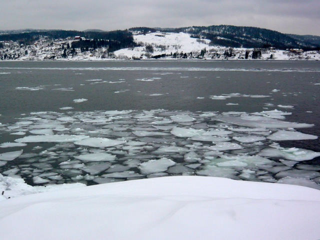 Ice on the Oslo Fjord at Drobak Norway