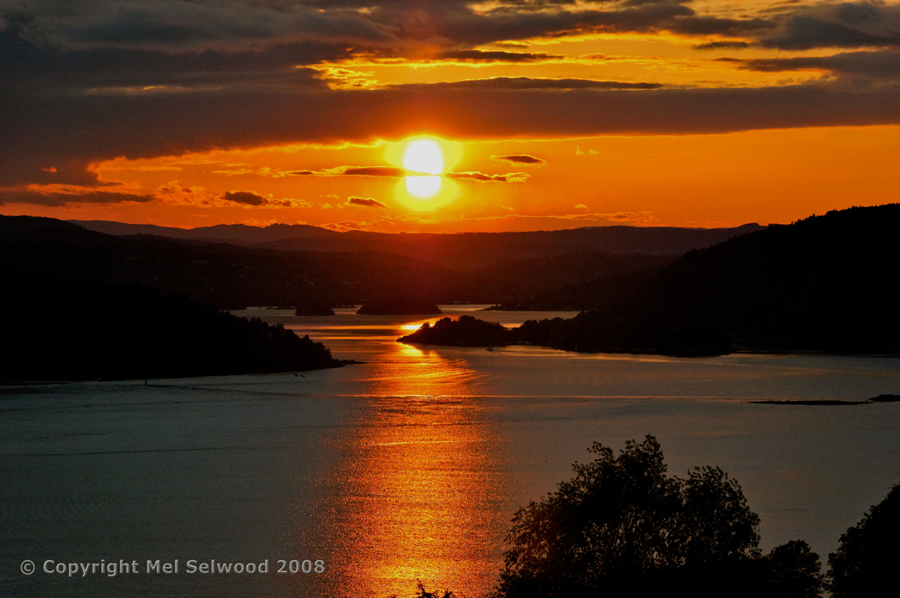 Sunset over the Oslo Fjord, Drobak, Norway